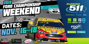 Use FL511 to find the best route to the 2018 Ford Championship Weekend at Homestead Miami Speedway
