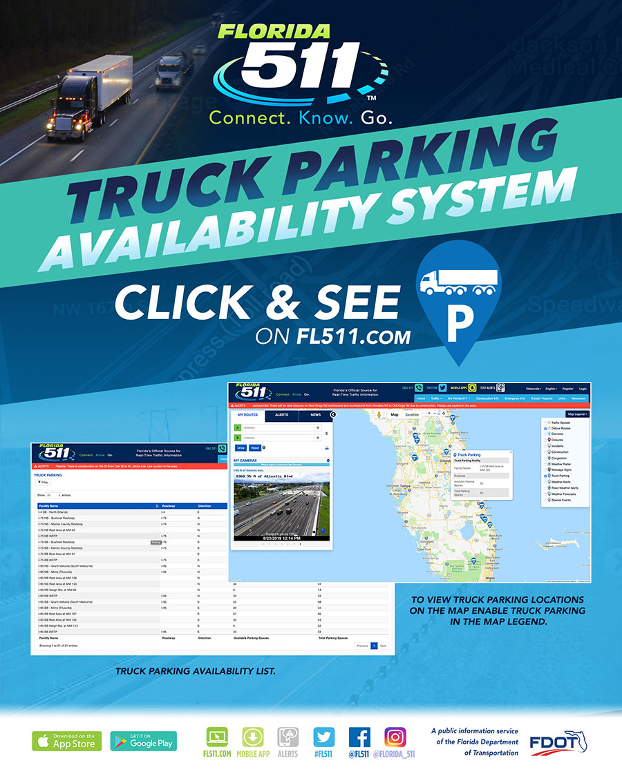 FL511 recognizes National Truck Driver Appreciation Week and encourages motorists to use the FL511 Truck Parking Availability System